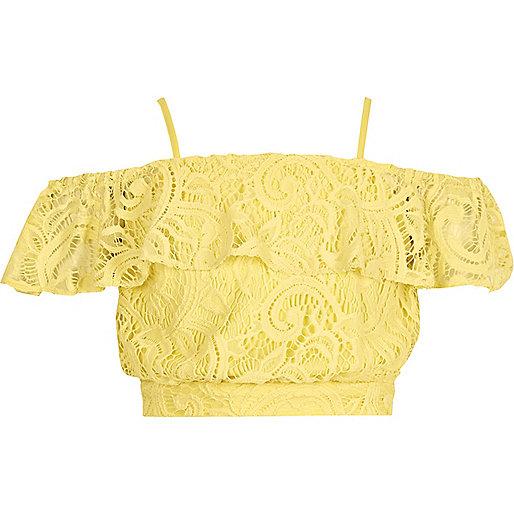 gelbes crop top aus spitze holiday shop sale m dchen. Black Bedroom Furniture Sets. Home Design Ideas