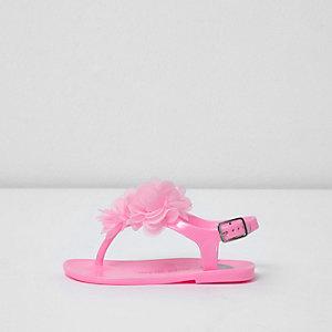 Sandales en plastique roses avec fleurs 3D mini fille