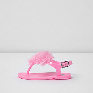 Mini - Roze jelly sandalen met corsage voor meisjes