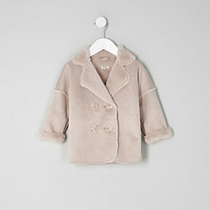 Mini girls pink faux shearling coat