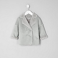 Mini girls grey faux shearling coat