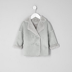 Mini - Grijze jas van imitatieschapevacht voor meisjes