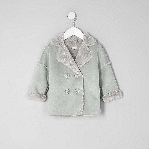 Mini girls grey faux shearling coat