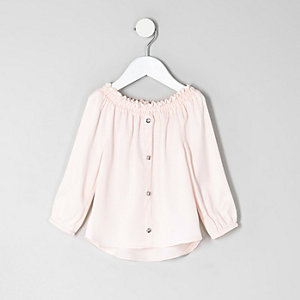 Mini girls pink bardot button front top