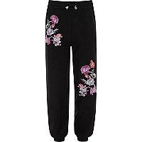 Pantalon de jogging noir à fleurs brodées pour fille