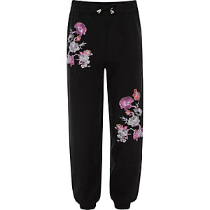 Girls black floral embroidered joggers
