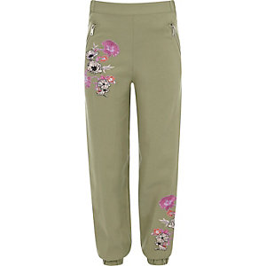 Girls khaki green floral embroidered joggers