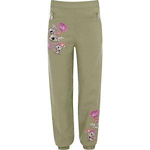 Pantalon de jogging vert kaki à fleurs brodées pour fille