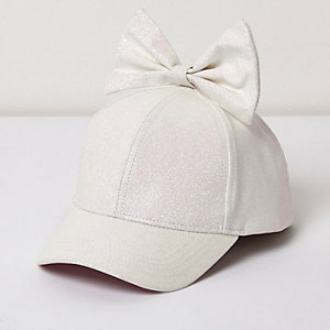 Girls white glitter bow baseball cap
