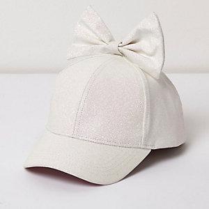 Witte baseballpet met glitters en strik voor meisjes