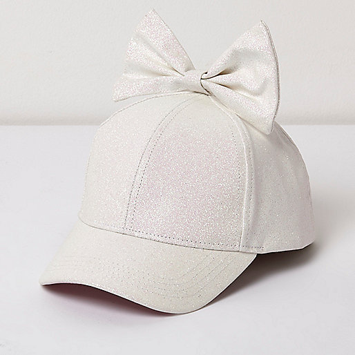 Girls white glitter bow baseball cap