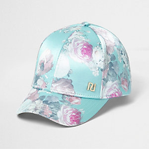 Girls green satin floral print baseball cap