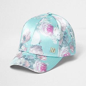 Girls green satin floral print baseball cap