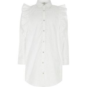 Robe chemise blanche avec épaule à volant pour fille