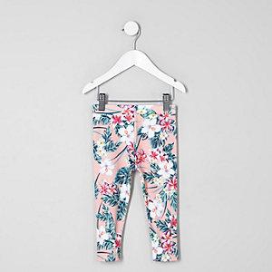Legging à imprimé tropical rose mini fille