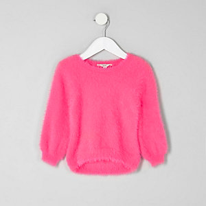 Mini girls bright pink fluffy jumper