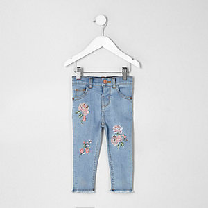 Mini girls blue Amelie embroidered jeans
