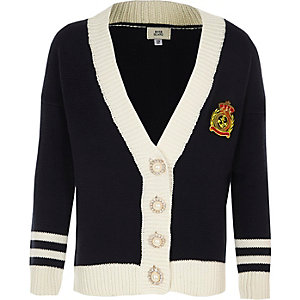 Girls navy pearl trim cardigan