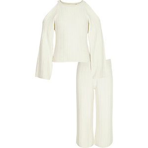 Girls cream knit jumper and culottes outfit