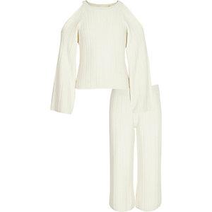 Outfit met crème gebreide pullover en broekrok voor meisjes