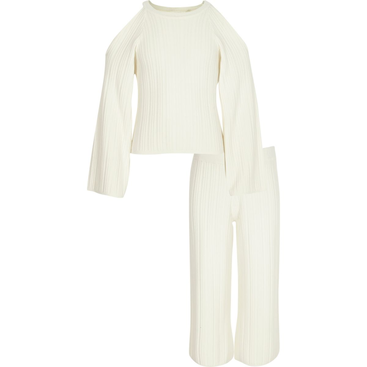 Girls cream knit sweater and culottes outfit