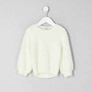 Mini girls cream fluffy jumper