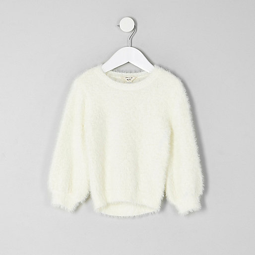 Mini girls cream fluffy jumper