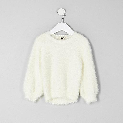 Mini girls cream fluffy sweater