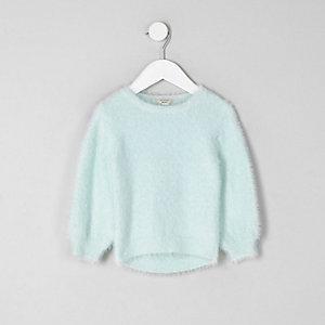 Mini girls green fluffy jumper