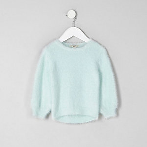 Mini girls green fluffy jumper