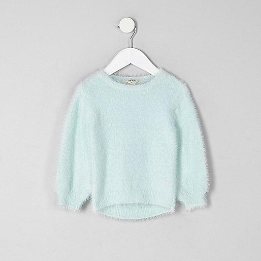 Mini - Groene pluizige pullover voor meisjes