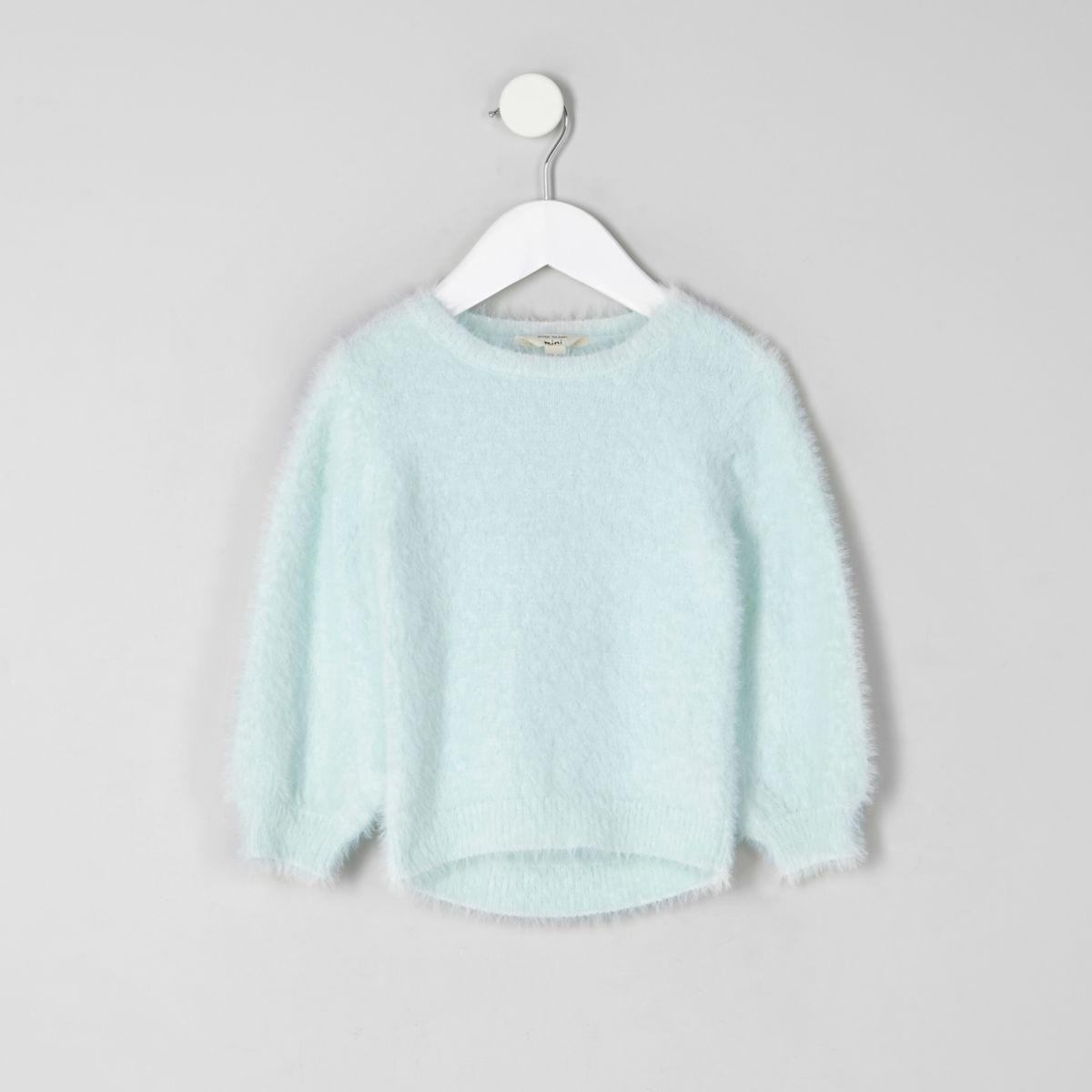 Mini girls green fluffy sweater