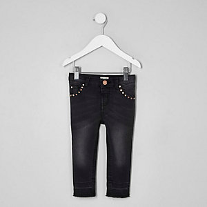 Mini girls black studded Amelie skinny jeans