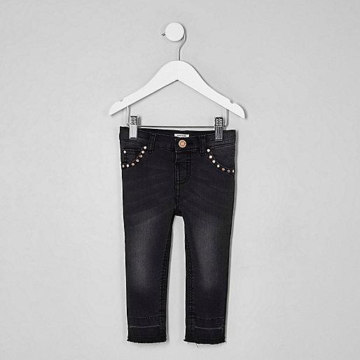 Mini girls black studded Amelie skinny jeans