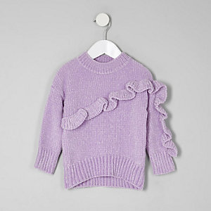 Mini girls purple chenille knit ruffle jumper
