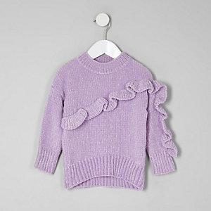 Mini - Paarse chenille pullover met ruches voor meisjes