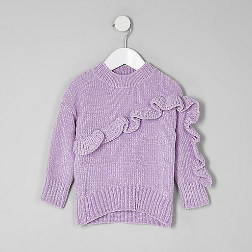 Mini girls purple chenille knit ruffle sweater