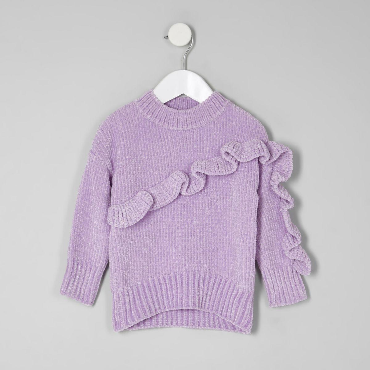 Pull en maille chenille violet à volant mini fille