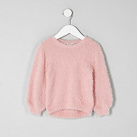 Mini girls light pink fluffy sweater