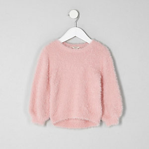 Mini girls light pink fluffy jumper