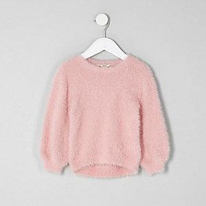 Pull duveteux rose clair mini fille