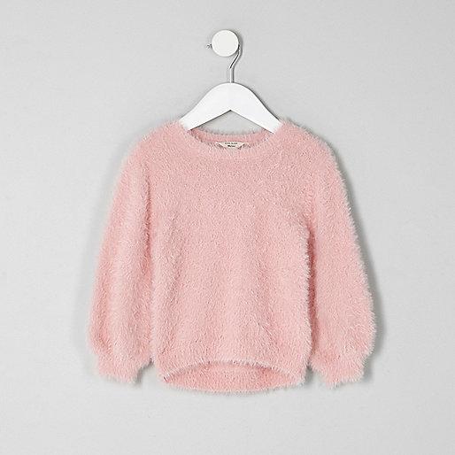 Mini girls pink fluffy jumper