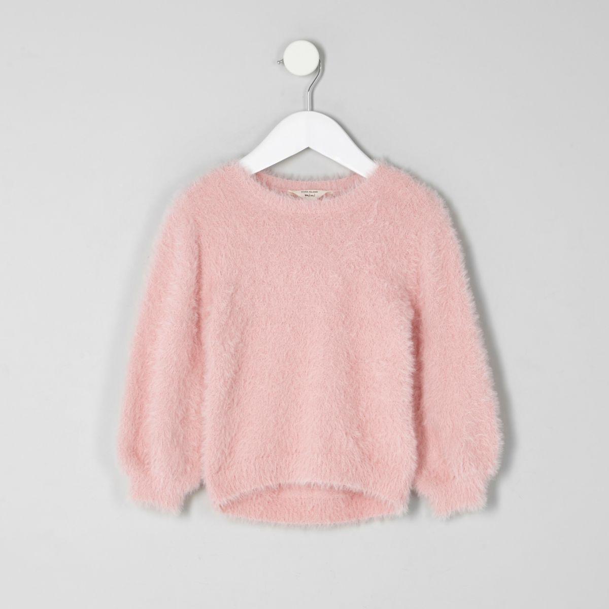 Mini girls light pink fluffy sweater