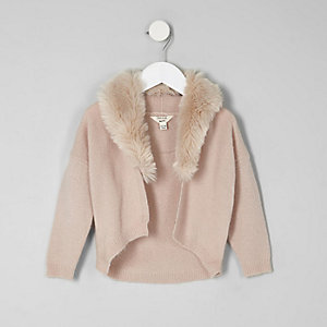 Mini girls pink faux fur collar cardigan