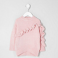 Mini girls pink chenille knit ruffle sweater