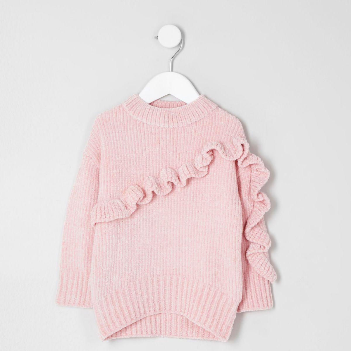 Pull en maille chenille rose à volants mini fille