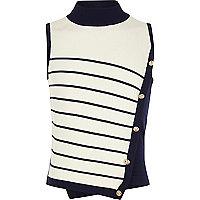Girls navy stripe high neck military knit top