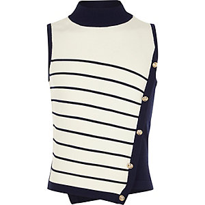 Girls navy stripe high neck military knit top