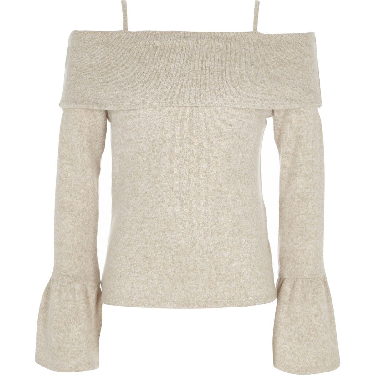 Girls beige knitted bardot top