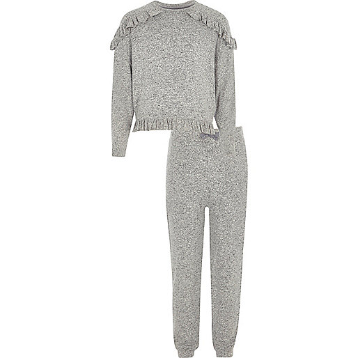 Girls grey knit frill top and joggers outfit
